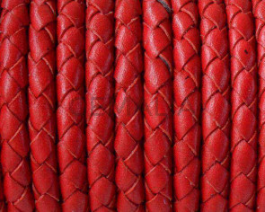 Braided round leather cord 5mm. Red. Best Quality.