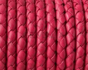 Braided round leather cord 5mm. Fuchsia. Best Quality.