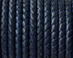 Snake leather cord braided round 5mm. Navy Blue. Best Quality.