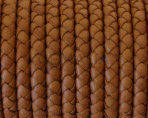 Snake leather cord braided round 5mm. Light Brown. Best Quality.