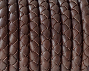 Snake leather cord braided round 5mm. Brown. Best Quality.