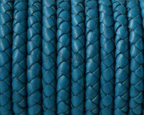 Snake leather cord braided round 5mm. Turquoise. Best Quality.