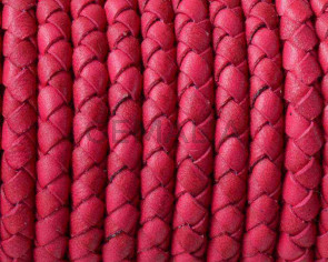 Snake leather cord braided round 5mm. Fuchsia. Best Quality.