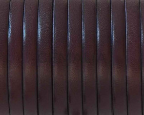 Flat leather cord 5x1,5mm. Garnet. Best Quality. Bulk Price.