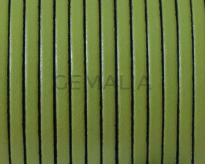 Flat leather cord 3x1,5mm. Green. Best Quality.