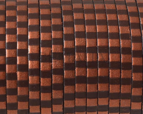 Flat Leather cord 3x1.5mm. Metalic brown copper. Best Quality
