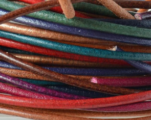 Round Leather cord 2mm. MIX.