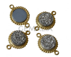 Druzy Agate/Silver 925.Connector.13.2mm.Gold-light silver.Inn.1.8mm.Best Quality