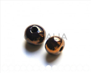 Ceramic. Round, 12mm. Dark brown/cop. Int.3mm.