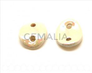 Ceramic. 30x25mm. Cream color. Ir. Inn.4mm. app.