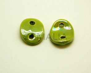 Ceramic. Connector. 30x25mm. Lig. green.Ir. Inn.4mm.app.