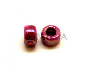 Ceramic. Rondelle. 15x9mm. Pink. Ir. Inn.8mm. approx.
