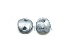Ceramic. Connector. 30x25mm. Silver mat. Inn.4mm. app.
