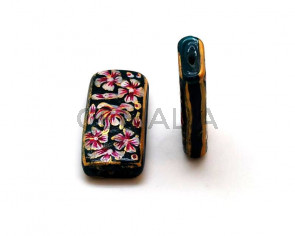 Murano. Rectangle. 35x18x8mm. Bottle g. Inn.1.8mm.app.