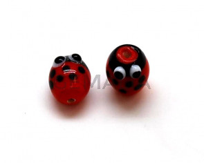 Murano. Ladybug. 15.5x12mm. Red. Inn.2mm.approx.