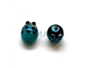 Murano. Ladybug. 15.5x12mm. Turquoise. Inn.2mm.approx.