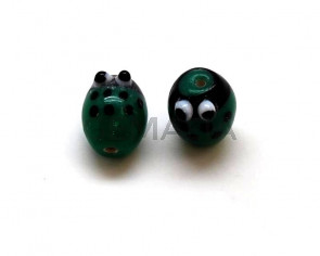 Murano. Ladybug. 15.5x12mm. Green. Inn.2mm.approx.