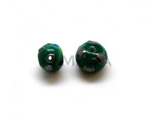 Murano. Round. 10mm. Green. Inn.2mm.approx.