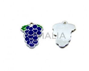 Metal. Enamel. Grape. 26x20x2mm. Lilac. Inn.2mm.