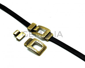 Zamak. Clasp square. 49x25mm. Antiq.gold. Inn.2.8x16mm.