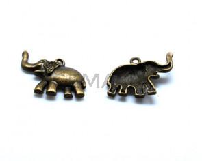 Metal. Elephant. 23x23x5mm. Antiq.gold. Inn.1.5mm.app.
