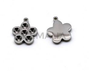 Stainless steel. Pendant. Flower. 23x20x3mm. Inn.2mm.