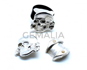 Zamak. Finger Ring. Skull. 27x27mm. Silver C. Inn.10mm.