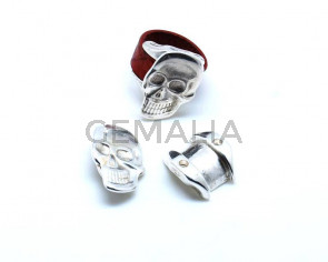 Zamak. Finger Ring. Skull. 29x20mm. Silver C. Inn.10mm.
