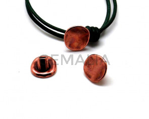 Zamak. Clasp. Button. 16x14mm. Antique copper. Inn.4.2mm.