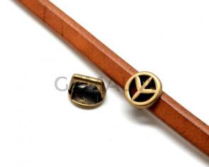 Zamak.Peace Symbol.15x15mm.Antique Gold.Int.10x7mm