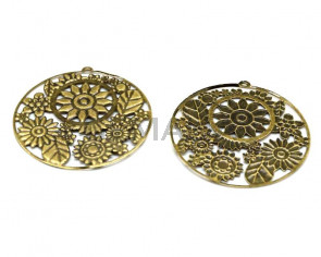 Metal. Pendant. Coin. 55x55x1mm. Antique gold. Inn.2mm.
