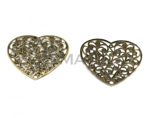 Metal.Filigree. Heart. 45x45x1.5mm. Antiq.gold. Inn.1.5mm.