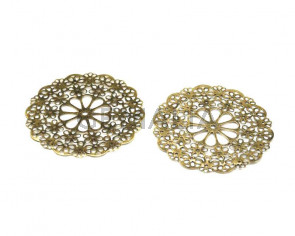 Metal.Filigree. Flower. 56mm. Antique gold.