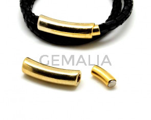 Zamak. Magnetic clasp. Tube. 33x9mm. Gold color. Inn.5mm