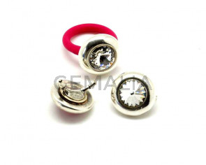 Zamak/Swarovski. Accessorie. Ring. Coin. 20mm. Silver-Crystal. 2.2mm.