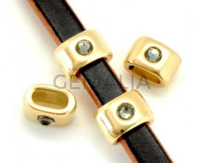 Zamak/Swarovski. Oval. 1strass. 15x10mm.Gold-Black diamond.Inn.10x5mm.