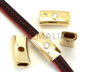 Zamak/Swarovski. Tube. 1strass. 28x14x7mm. Gold-crystal. Inn.10x5mm.