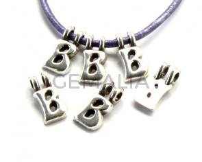 Zamak. Pendant. Letter . Silver color. 9mm. Inn.2.2mm.