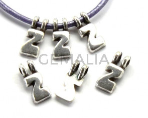 Zamak. Pendant. Letter Z. Silver color. 9mm. Inn.2.2mm.