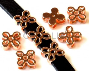 Zamak. Flower. 13mm. Rose gold. Inn.10x2.5mm.