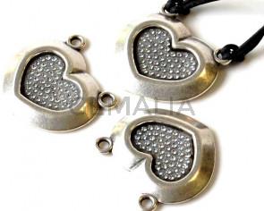 Zamak/Swarovski. Pendant. Heart. 34x27mm. Silver-crystal. Inn.3mm.