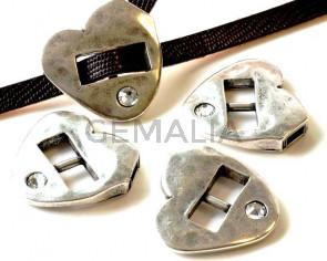 Zamak/Swarovski. Clasp. 33x31mm. Heart. 6x2.5mm.