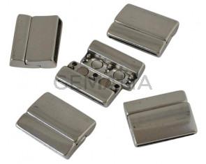 Zamak. Magnetic clasp. 27x22mm. Silver. Inn.24x2.5mm.