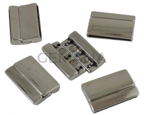Zamak. Magnetic clasp. 32x21mm. Silver. Inn.29x2.5mm.