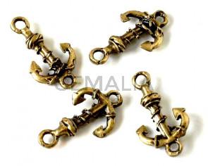 Zamak. Connector. Anchor. 26x14mm. Antique gold. Inn.2.5mm.