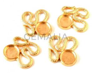 Zamak. Pendant. Snake. 34x33mm. Gold. Inn.12mm.
