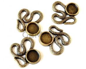 Zamak. Pendant. Snake. 34x33mm. Antique gold. Inn.12mm.