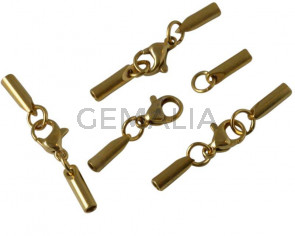 Stainless steel 304. Lobster claw cord clasp.30x3x3mm. Gold. Inn.2mm.