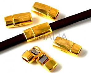 Zamak. Magnetic clasp. Flat. 16x7.5mm. Gold. Inn.5x2mm.