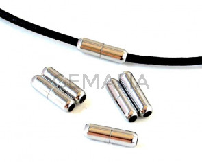 Stainless Steel 304.Magnetic Clasp.Tube.13x4mm.Silver.Inn.2mm.approx